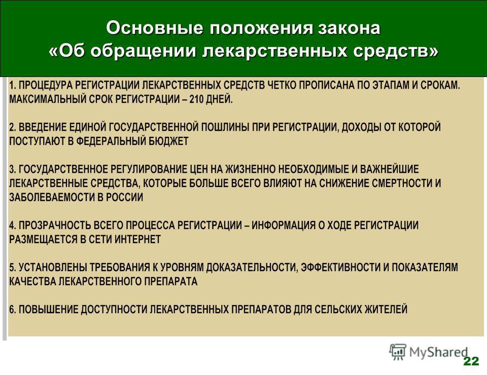 Основные положения закона «Об обращении лекарственных средств» 22