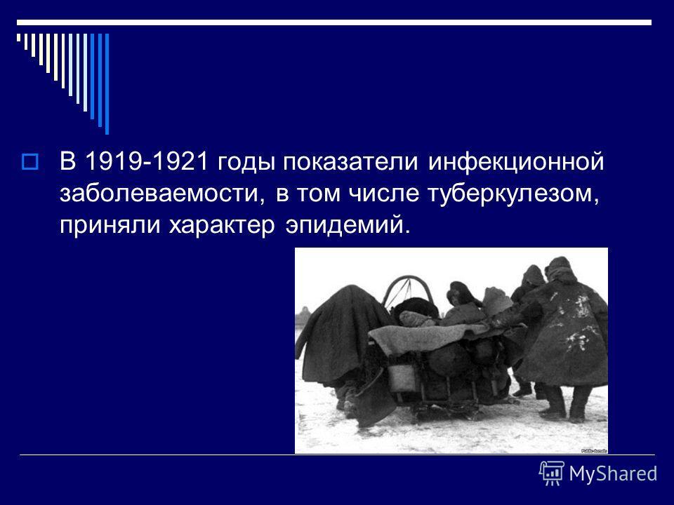 В 1919-1921 годы показатели инфекционной заболеваемости, в том числе туберкулезом, приняли характер эпидемий.