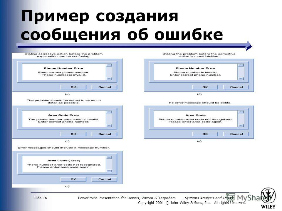 PowerPoint Presentation for Dennis, Wixom & Tegardem Systems Analysis and Design Copyright 2001 © John Wiley & Sons, Inc. All rights reserved. Slide 16 Пример создания сообщения об ошибке