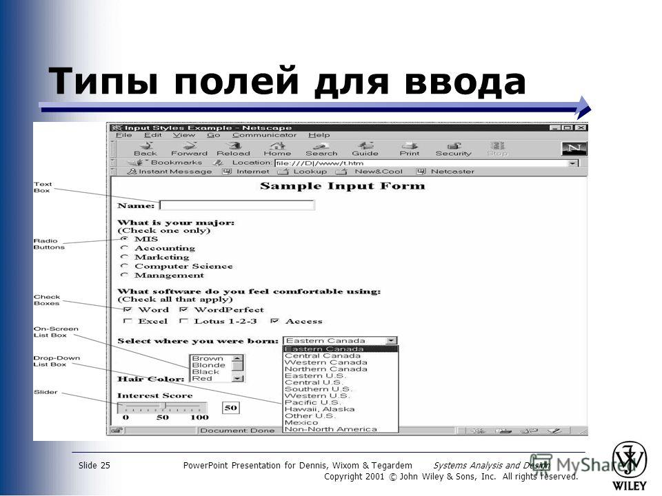 PowerPoint Presentation for Dennis, Wixom & Tegardem Systems Analysis and Design Copyright 2001 © John Wiley & Sons, Inc. All rights reserved. Slide 25 Типы полей для ввода