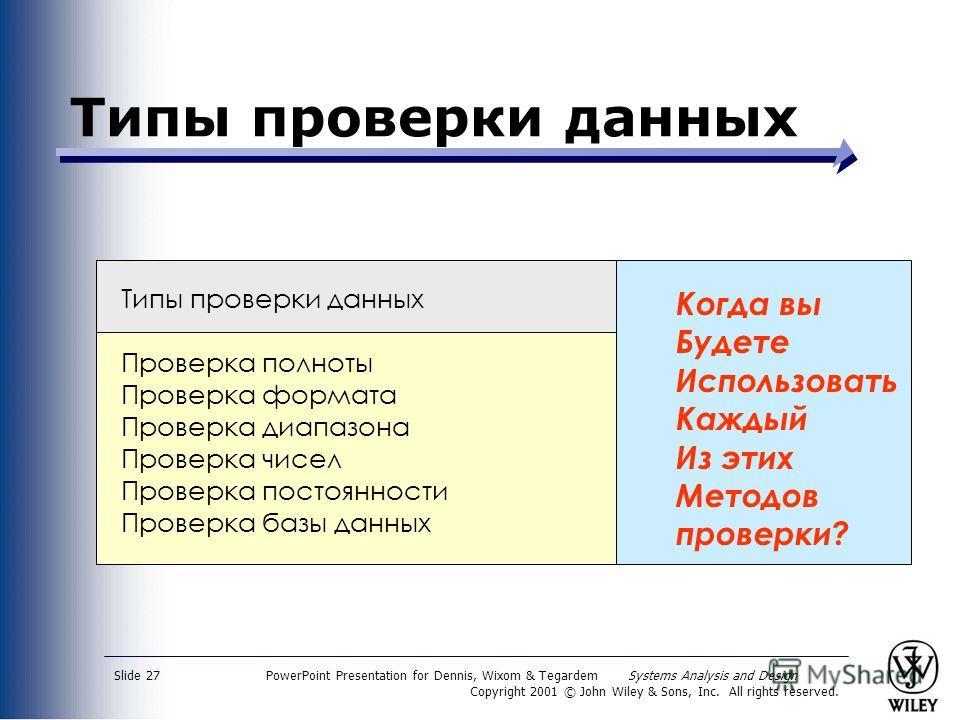 PowerPoint Presentation for Dennis, Wixom & Tegardem Systems Analysis and Design Copyright 2001 © John Wiley & Sons, Inc. All rights reserved. Slide 27 Типы проверки данных Проверка полноты Проверка формата Проверка диапазона Проверка чисел Проверка