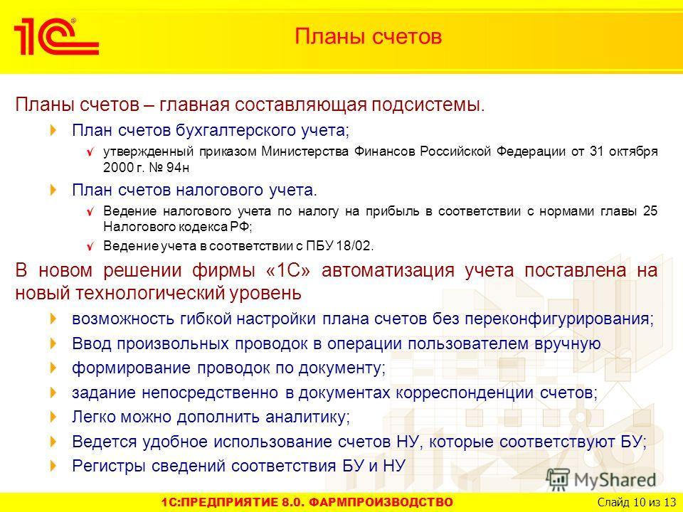 1C:ПРЕДПРИЯТИЕ 8.0. ФАРМПРОИЗВОДСТВО Слайд 10 из 13 Планы счетов – главная составляющая подсистемы. План счетов бухгалтерского учета; утвержденный приказом Министерства Финансов Российской Федерации от 31 октября 2000 г. 94н План счетов налогового уч