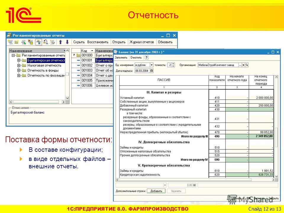 1C:ПРЕДПРИЯТИЕ 8.0. ФАРМПРОИЗВОДСТВО Слайд 12 из 13 Поставка формы отчетности: В составе конфигурации; в виде отдельных файлов – внешние отчеты. Отчетность