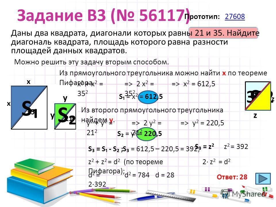 S = х 2 = 612,5 S = у 2 = 220,5 Задание B3 ( 56117) Даны два квадрата, диагонали которых равны 21 и 35. Найдите диагональ квадрата, площадь которого равна разности площадей данных квадратов. Прототип: 2760827608 21 35 Можно решить эту задачу вторым с