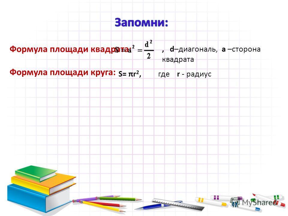Формула площади квадрата: Формула площади круга: S= πr 2,где r - радиус, d–диагональ, а –сторона квадрата