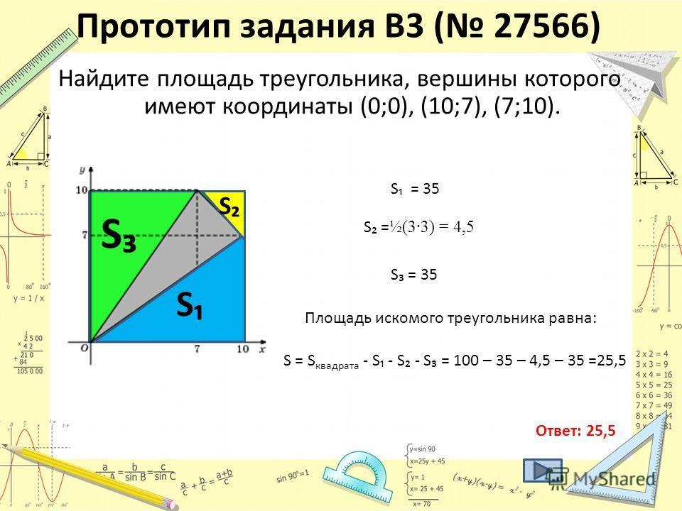 Прототип задания B3 ( 27566) Найдите площадь треугольника, вершины которого имеют координаты (0;0), (10;7), (7;10). S S = 35 S S = ½(3·3) = 4,5 S S = 35 Площадь искомого треугольника равна: S = S квадрата - S - S - S = 100 – 35 – 4,5 – 35 =25,5 Ответ