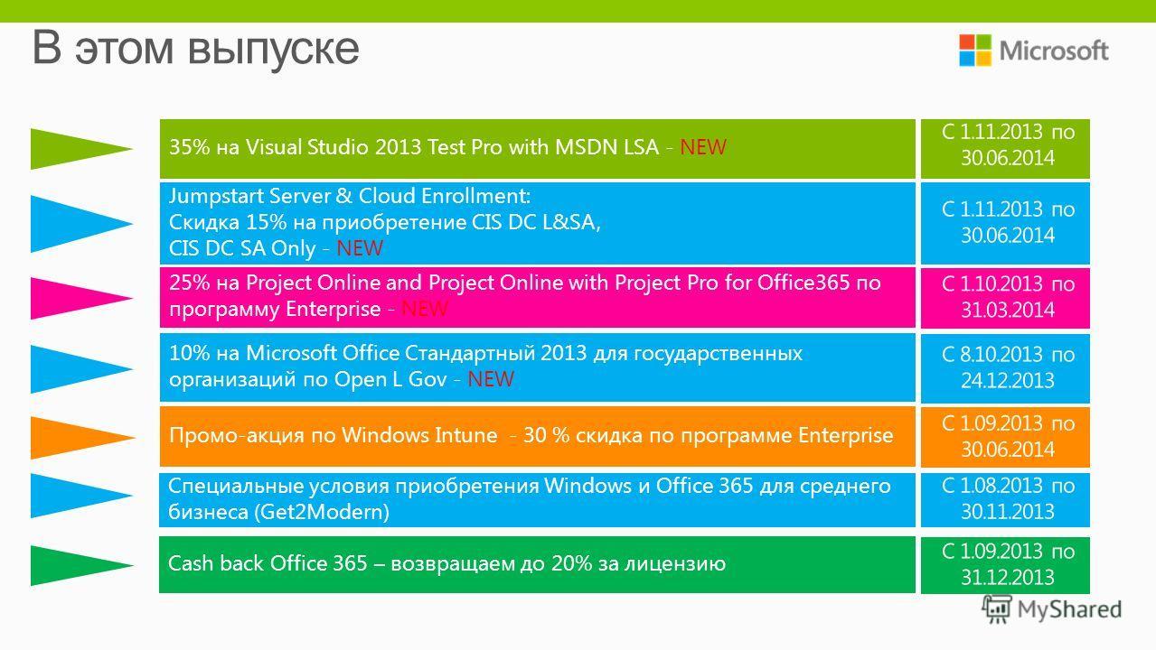 10% на Microsoft Office Стандартный 2013 для государственных организаций по Open L Gov - NEW 25% на Project Online and Project Online with Project Pro for Office365 по программу Enterprise - NEW Jumpstart Server & Cloud Enrollment: Скидка 15% на прио