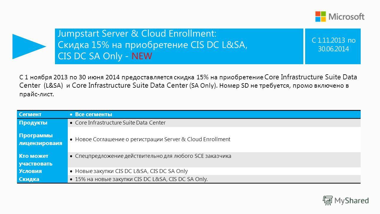 Jumpstart Server & Cloud Enrollment: Скидка 15% на приобретение CIS DC L&SA, CIS DC SA Only - NEW Сегмент Все сегменты Продукты Core Infrastructure Suite Data Center Программы лицензироваия Новое Соглашение о регистрации Server & Cloud Enrollment Кто