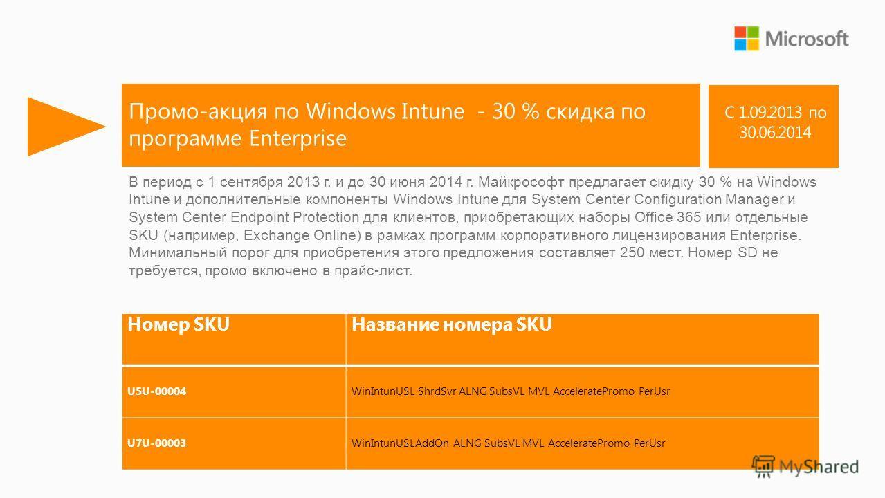 Промо-акция по Windows Intune - 30 % скидка по программе Enterprise Номер SKUНазвание номера SKU U5U-00004WinIntunUSL ShrdSvr ALNG SubsVL MVL AcceleratePromo PerUsr U7U-00003WinIntunUSLAddOn ALNG SubsVL MVL AcceleratePromo PerUsr В период с 1 сентябр