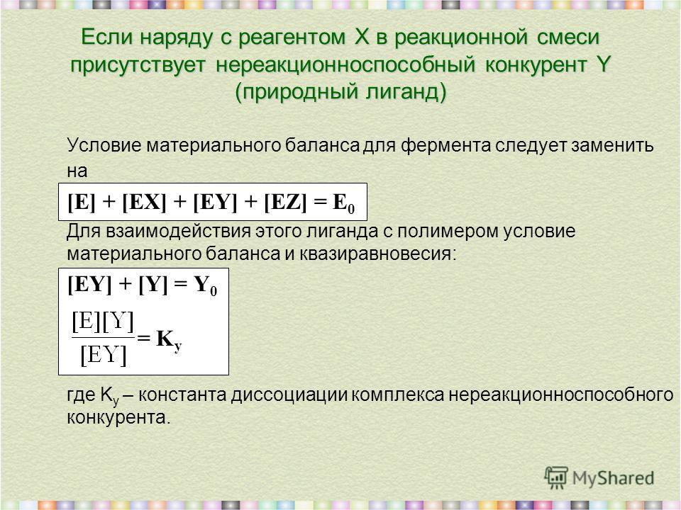 Условие материального баланса для фермента следует заменить на [E] + [EX] + [EY] + [EZ] = E 0 Для взаимодействия этого лиганда с полимером условие материального баланса и квазиравновесия: [EY] + [Y] = Y 0 = K y где K y – константа диссоциации комплек