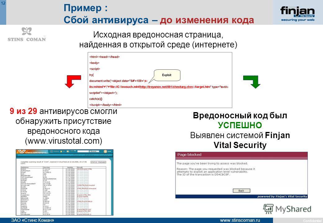 Confidential 12 www.stinscoman.ruЗАО «Стинс Коман» Пример : Сбой антивируса – до изменения кода 9 из 29 антивирусов смогли обнаружить присутствие вредоносного кода (www.virustotal.com) Вредоносный код был УСПЕШНО Выявлен системой Finjan Vital Securit