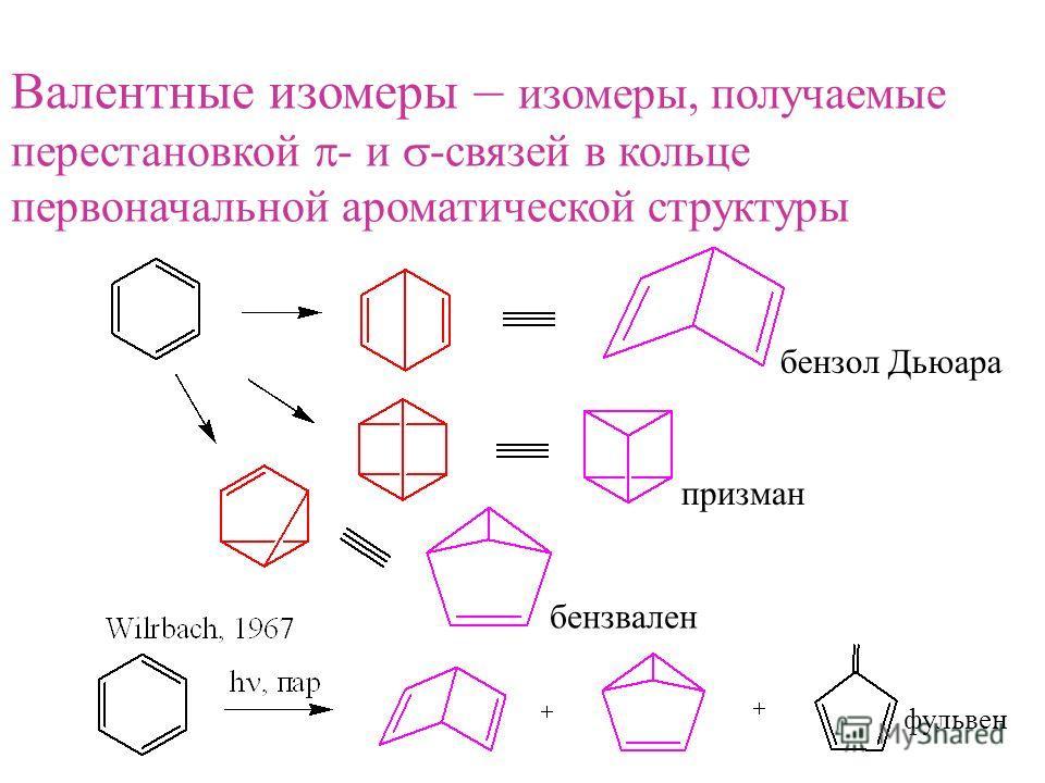 Валентные изомеры – изомеры, получаемые перестановкой - и -связей в кольце первоначальной ароматической структуры бензол Дьюара призман бензвален фульвен