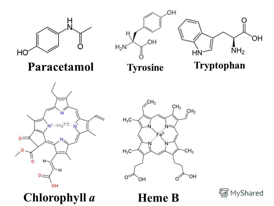 Heme B Chlorophyll a Paracetamol Tyrosine Tryptophan