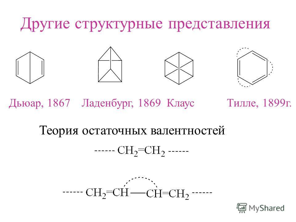 Другие структурные представления Дьюар, 1867 Ладенбург, 1869 Клаус Тилле, 1899г. Теория остаточных валентностей
