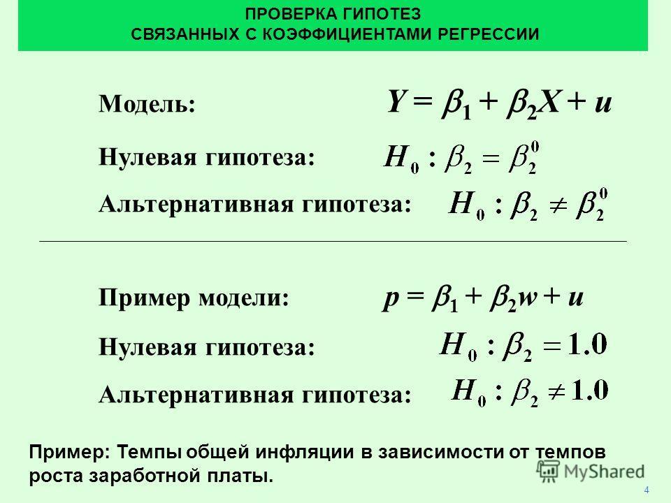 Модель: Y = 1 + 2 X + u Нулевая гипотеза: Альтернативная гипотеза: Пример модели: p = 1 + 2 w + u Нулевая гипотеза: Альтернативная гипотеза: 4 ПРОВЕРКА ГИПОТЕЗ СВЯЗАННЫХ С КОЭФФИЦИЕНТАМИ РЕГРЕССИИ Пример: Темпы общей инфляции в зависимости от темпов