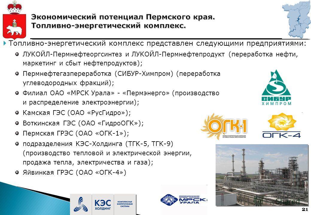 21 Топливно-энергетический комплекс представлен следующими предприятиями: ЛУКОЙЛ-Пермнефтеоргсинтез и ЛУКОЙЛ-Пермнефтепродукт (переработка нефти, маркетинг и сбыт нефтепродуктов); Пермнефтегазпереработка (СИБУР-Химпром) (переработка углеводородных фр
