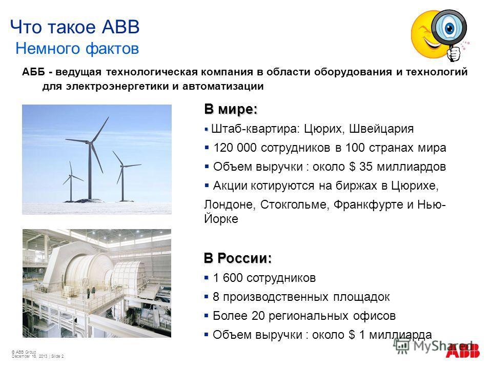 © ABB Group December 16, 2013 | Slide 2 Что такое ABB Немного фактов АББ - ведущая технологическая компания в области оборудования и технологий для электроэнергетики и автоматизации В мире: Штаб-квартира: Цюрих, Швейцария 120 000 сотрудников в 100 ст