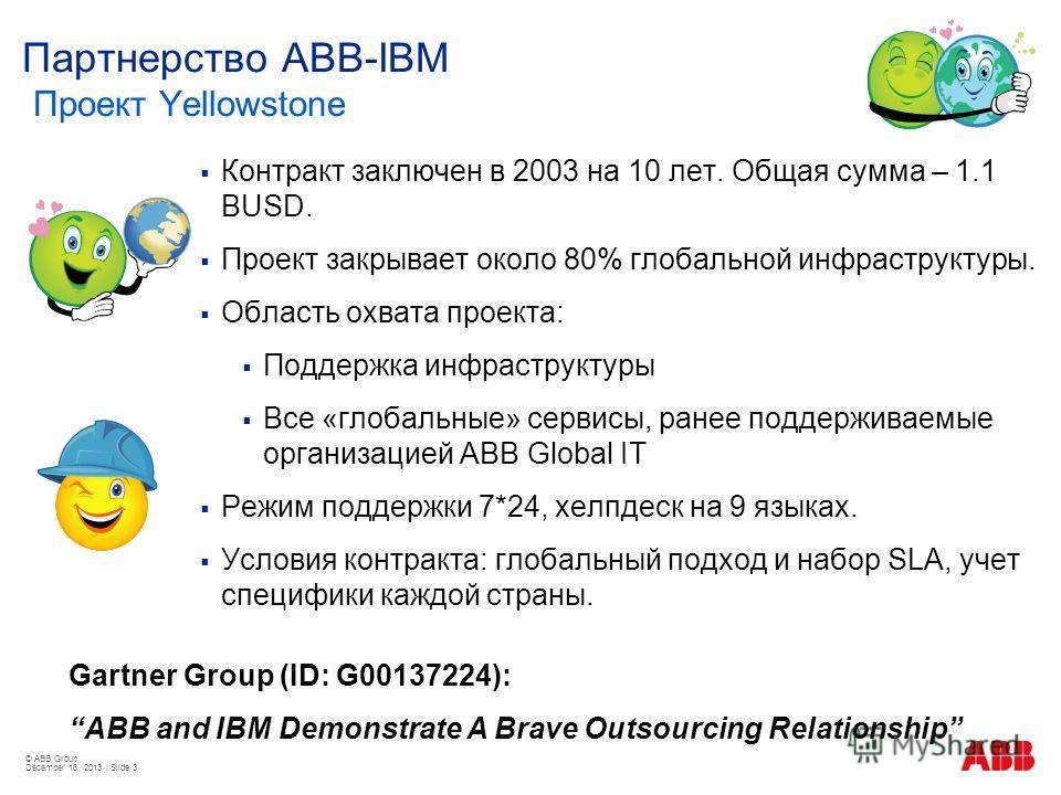 © ABB Group December 16, 2013 | Slide 3 Партнерство ABB-IBM Проект Yellowstone Контракт заключен в 2003 на 10 лет. Общая сумма – 1.1 BUSD. Проект закрывает около 80% глобальной инфраструктуры. Область охвата проекта: Поддержка инфраструктуры Все «гло
