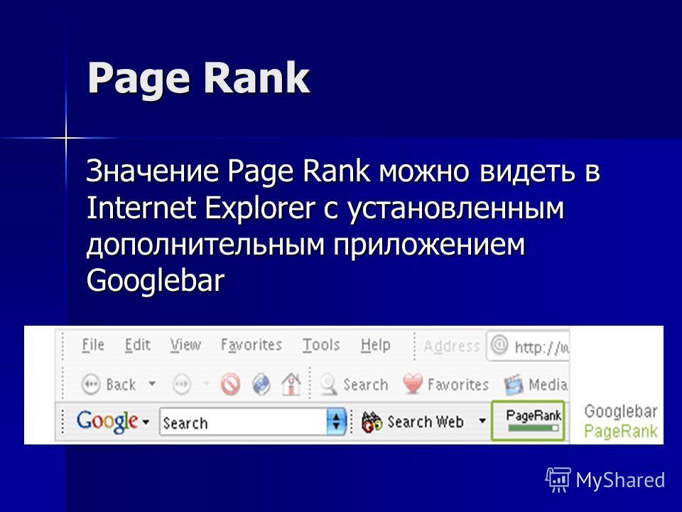 Page Rank Значение Page Rank можно видеть в Internet Explorer с установленным дополнительным приложением Googlebar