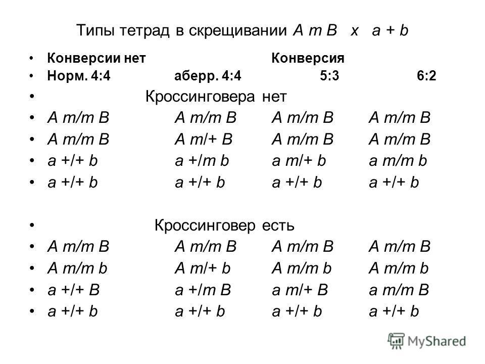Типы тетрад в скрещивании A m B x a + b Конверсии нетКонверсия Норм. 4:4аберр. 4:45:36:2 Кроссинговера нет A m/m BA m/m BA m/m BA m/m B A m/m BA m/+ BA m/m BA m/m B a +/+ ba +/m ba m/+ ba m/m b a +/+ ba +/+ ba +/+ ba +/+ b Кроссинговер есть A m/m BA