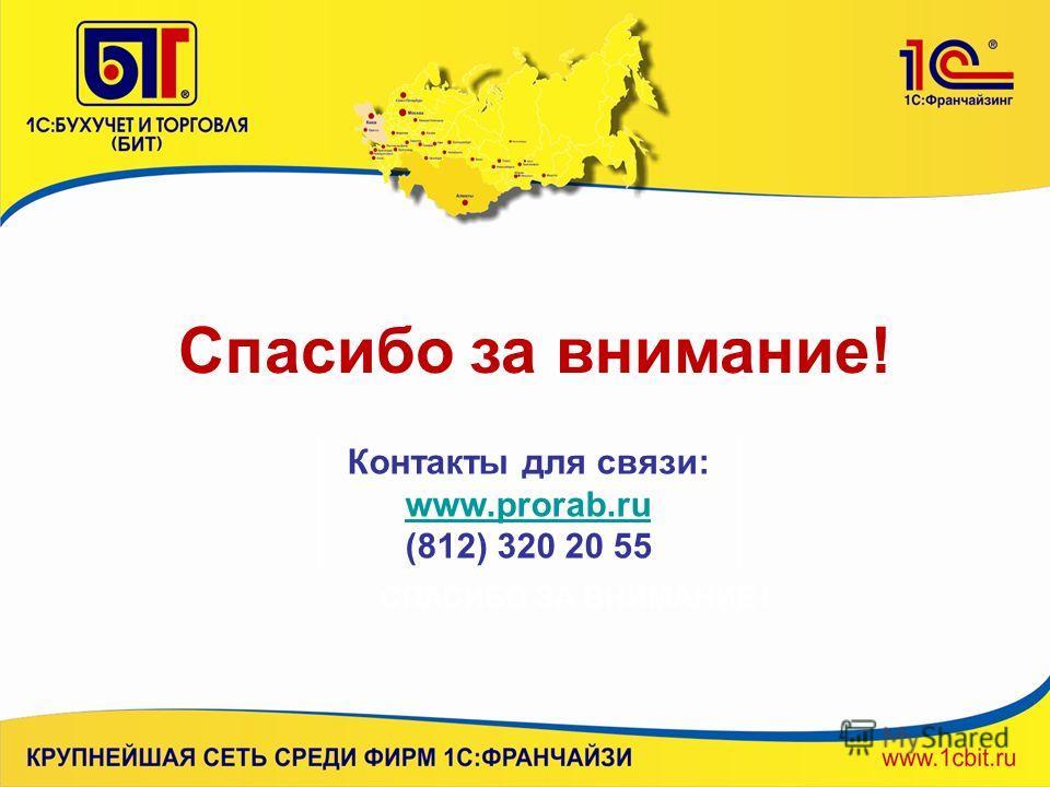 Спасибо за внимание! Контакты для связи: www.prorab.ru (812) 320 20 55 СПАСИБО ЗА ВНИМАНИЕ !
