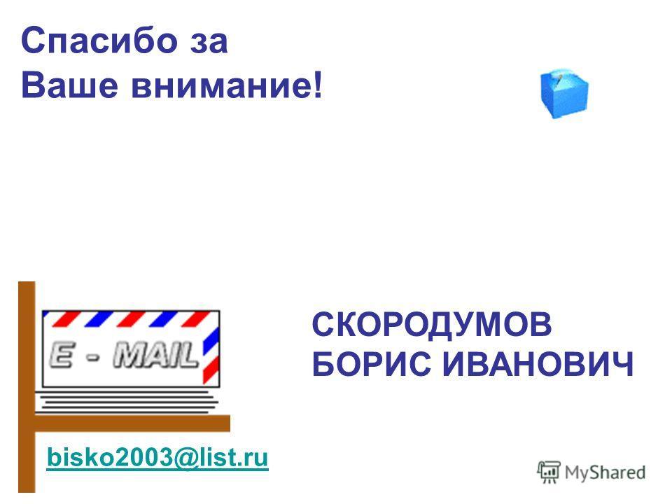 Спасибо за Ваше внимание! bisko2003@list.ru СКОРОДУМОВ БОРИС ИВАНОВИЧ