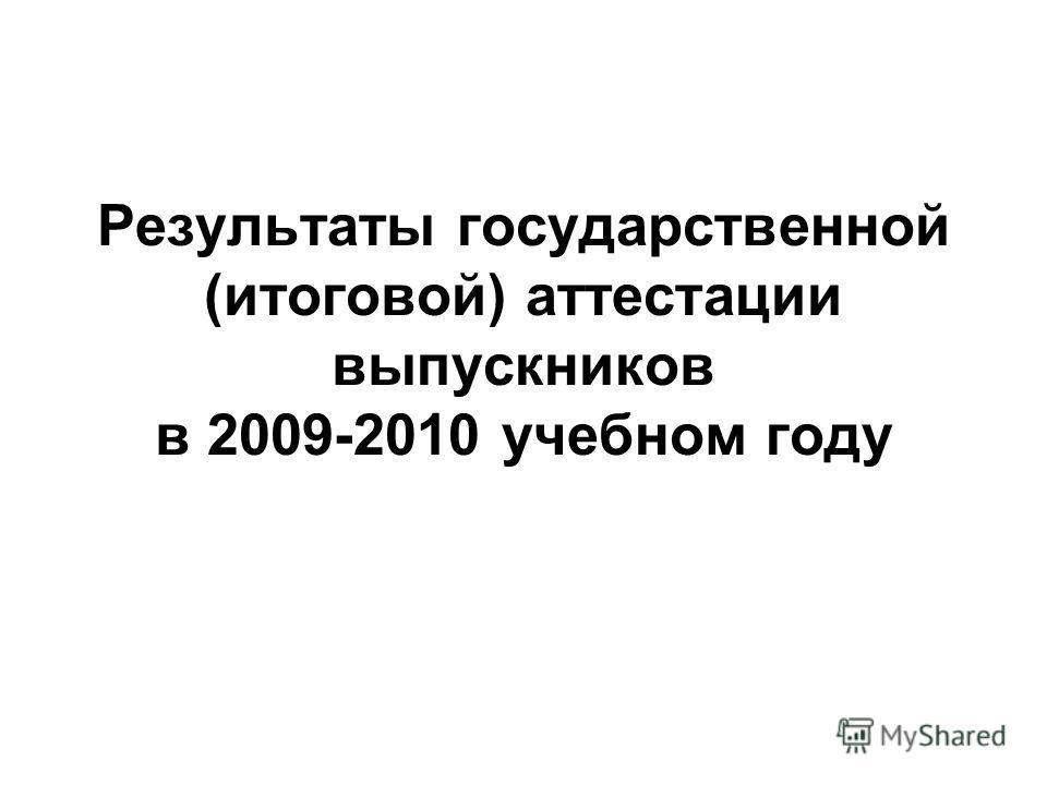 Результаты государственной (итоговой) аттестации выпускников в 2009-2010 учебном году