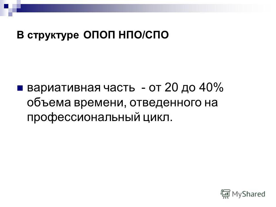 В структуре ОПОП НПО/СПО вариативная часть - от 20 до 40% объема времени, отведенного на профессиональный цикл.