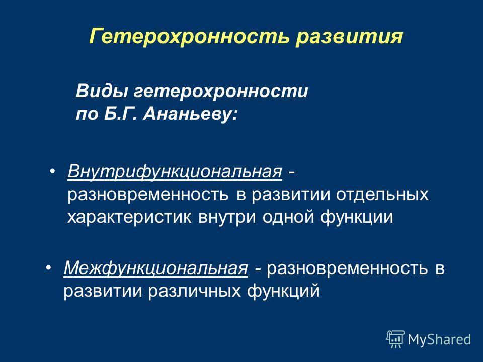 Гетерохронность развития Виды гетерохронности по Б.Г. Ананьеву: Внутрифункциональная - разновременность в развитии отдельных характеристик внутри одной функции Межфункциональная - разновременность в развитии различных функций