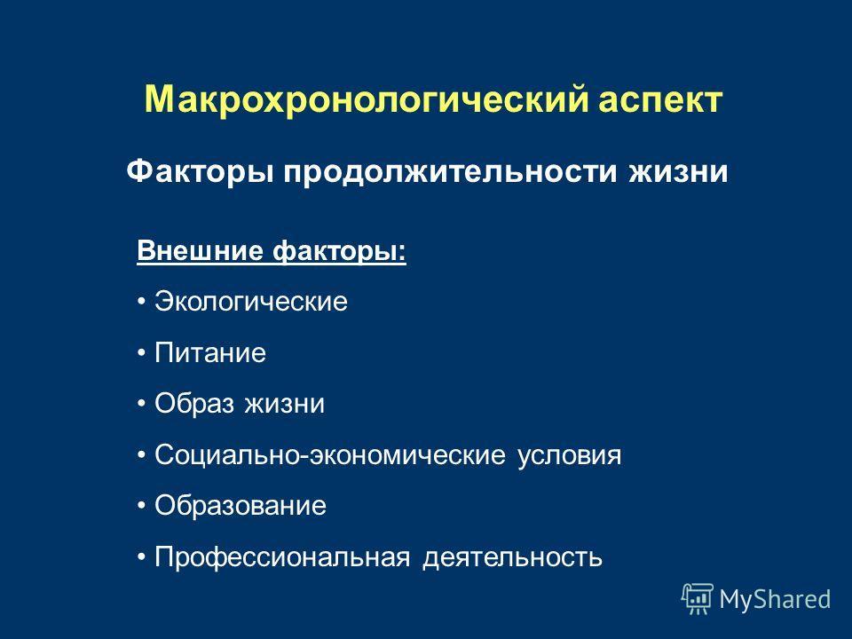 Макрохронологический аспект Факторы продолжительности жизни Внешние факторы: Экологические Питание Образ жизни Социально-экономические условия Образование Профессиональная деятельность