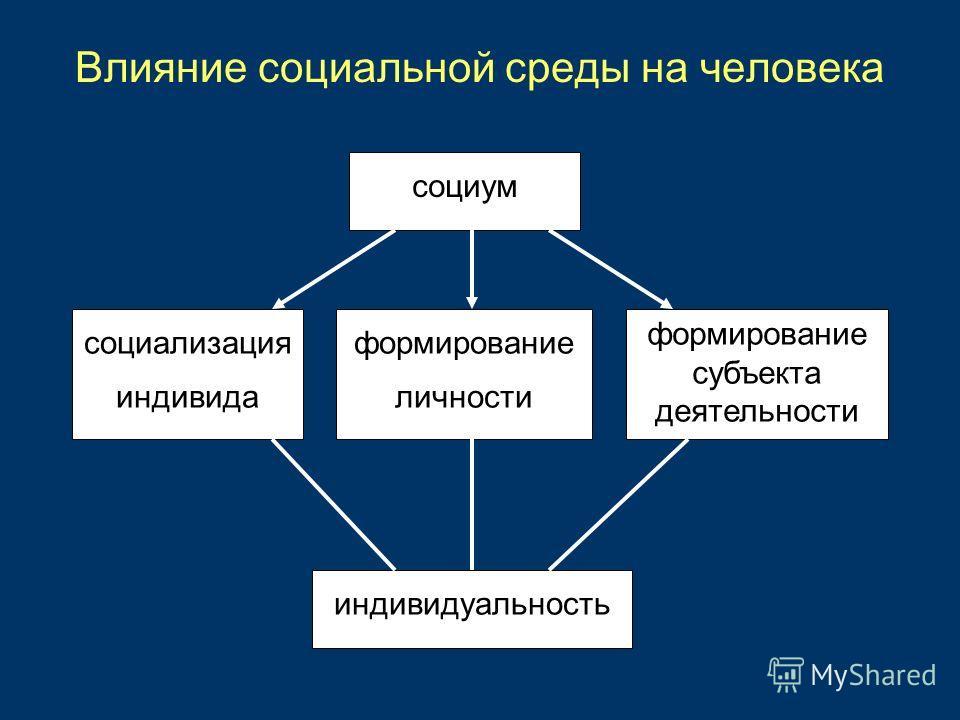 Влияние социальной среды на человека социум социализация индивида формирование субъекта деятельности формирование личности индивидуальность