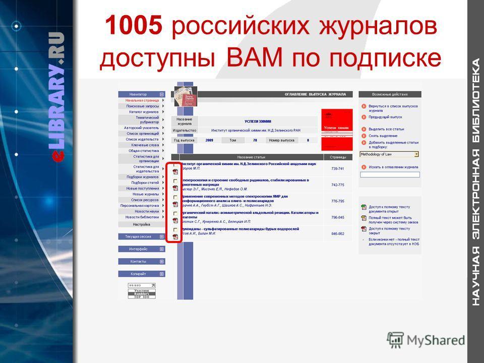 1005 российских журналов доступны ВАМ по подписке
