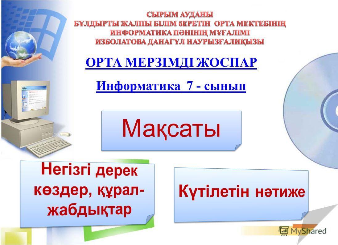 ОРТА МЕРЗІМДІ ЖОСПАР Мақсаты Информатика 7 - сынып