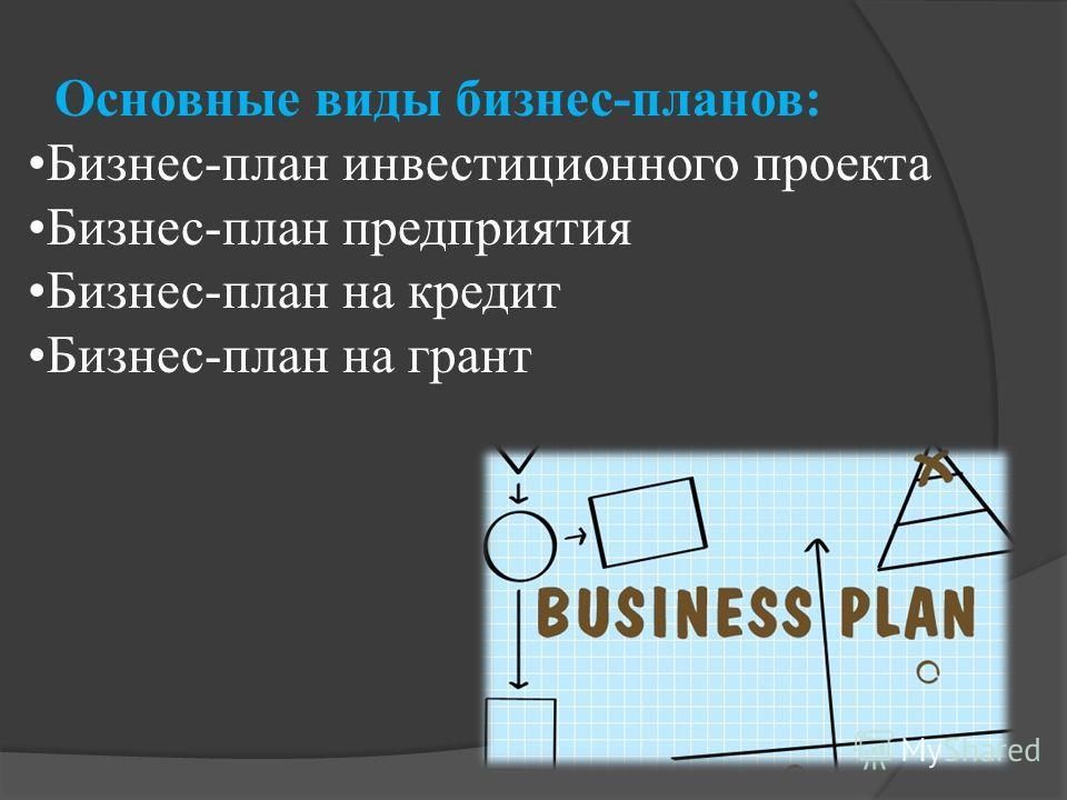 Основные виды бизнес-планов: Бизнес-план инвестиционного проекта Бизнес-план предприятия Бизнес-план на кредит Бизнес-план на грант