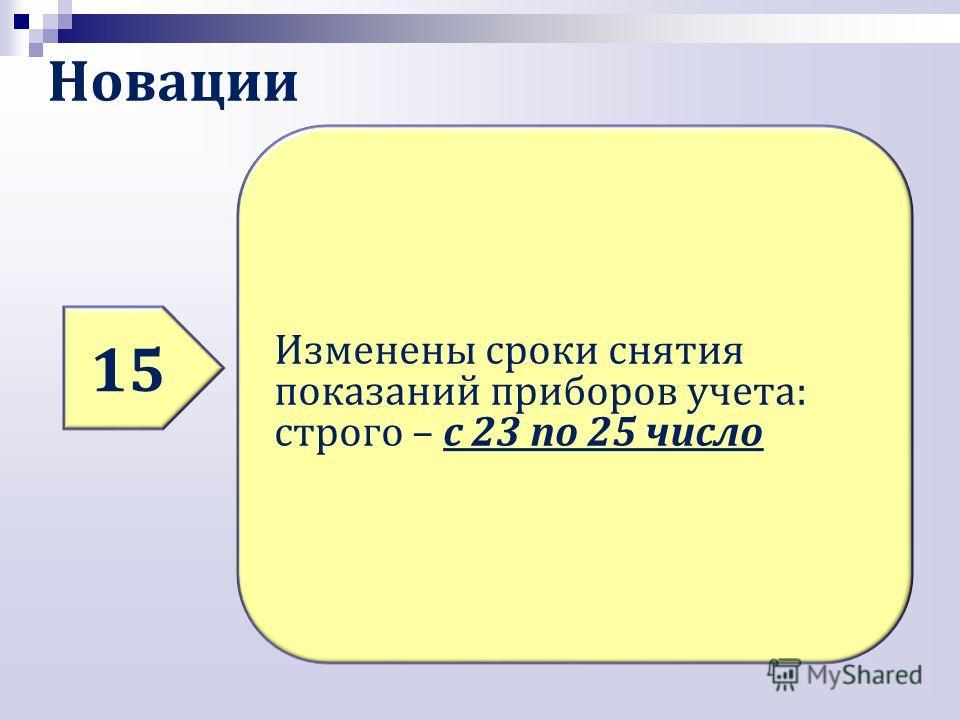 Новации 15 Изменены сроки снятия показаний приборов учета: строго – с 23 по 25 число