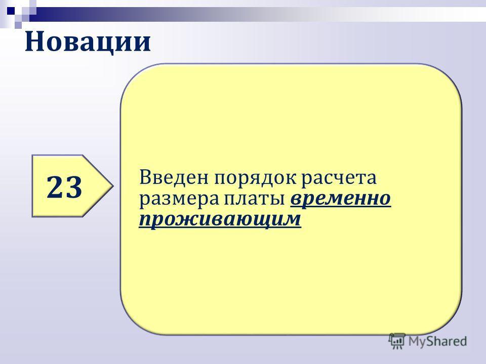 Новации 23 Введен порядок расчета размера платы временно проживающим