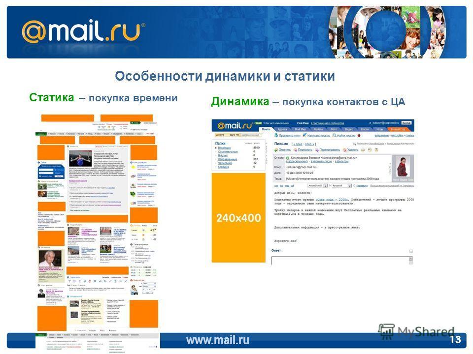 Особенности динамики и статики www.mail.ru 13 Статика – покупка времени Динамика – покупка контактов с ЦА
