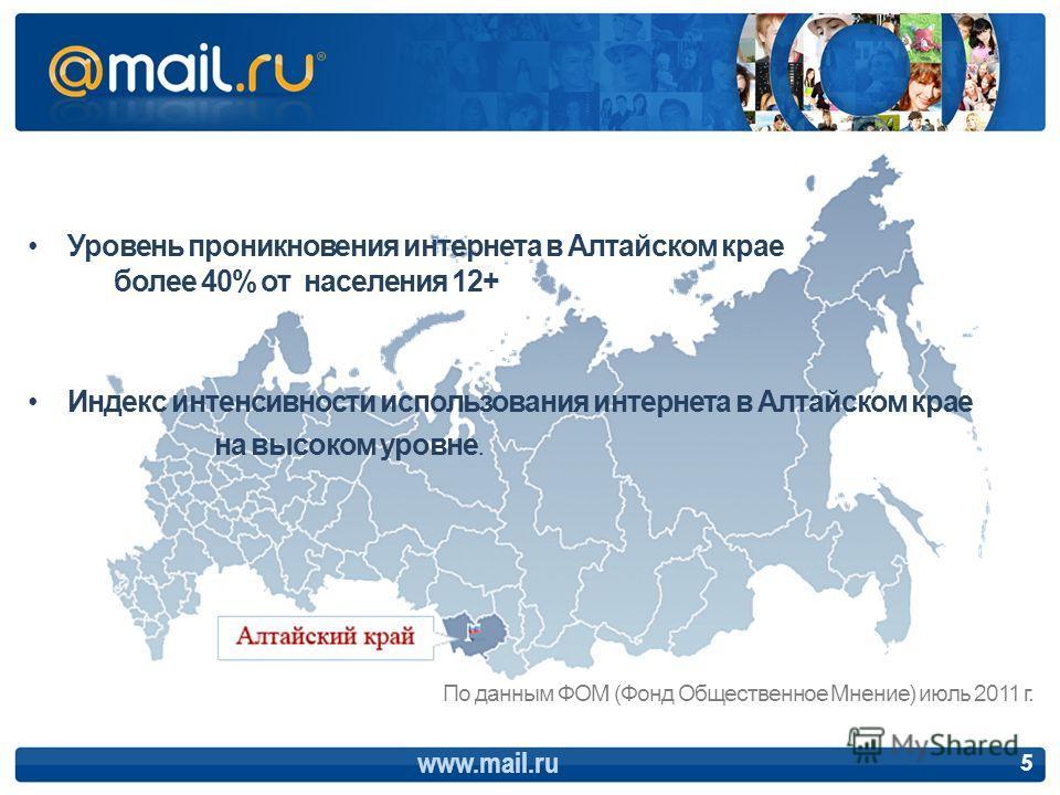 5 Уровень проникновения интернета в Алтайском крае более 40% от населения 12+ Индекс интенсивности использования интернета в Алтайском крае на высоком уровне. По данным ФОМ (Фонд Общественное Мнение) июль 2011 г.