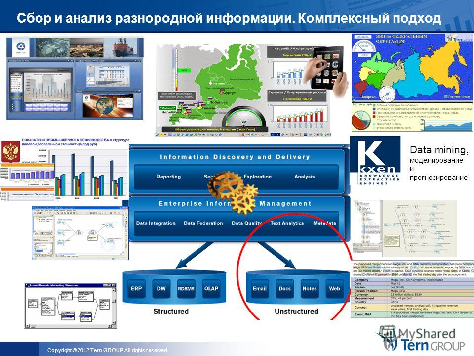 Copyright © 2012 Tern GROUP All rights reserved. Сбор и анализ разнородной информации. Комплексный подход Data mining, моделирование и прогнозирование