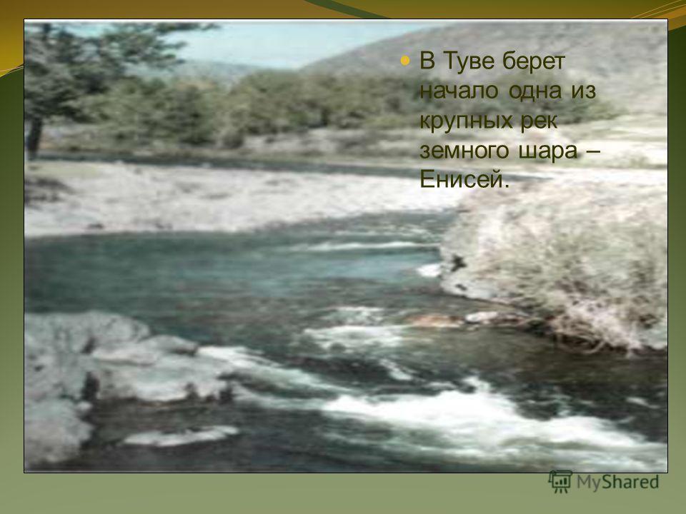 В Туве берет начало одна из крупных рек земного шара – Енисей.
