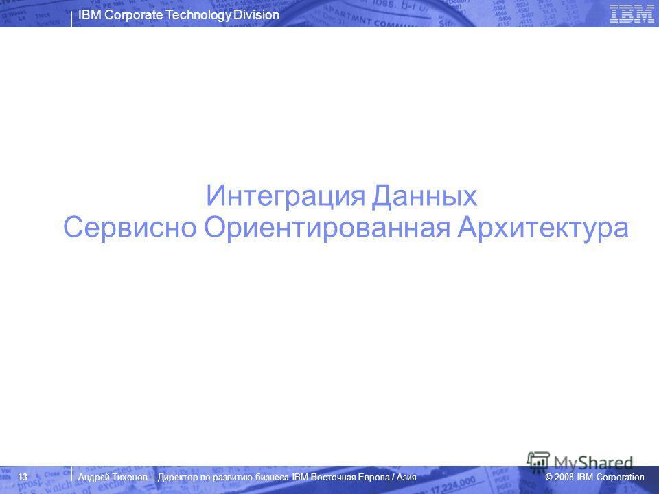 IBM Corporate Technology Division © 2008 IBM Corporation 13Андрей Тихонов – Директор по развитию бизнеса IBM Восточная Европа / Азия Интеграция Данных Сервисно Ориентированная Архитектура