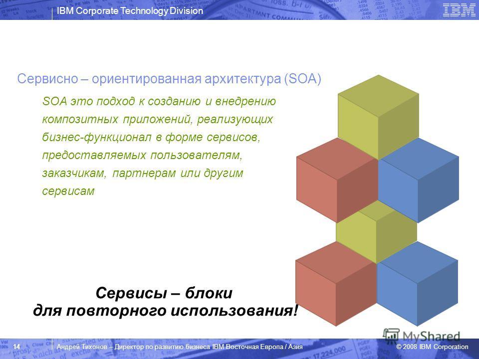 IBM Corporate Technology Division © 2008 IBM Corporation 14Андрей Тихонов – Директор по развитию бизнеса IBM Восточная Европа / Азия SOA это подход к созданию и внедрению композитных приложений, реализующих бизнес-функционал в форме сервисов, предост