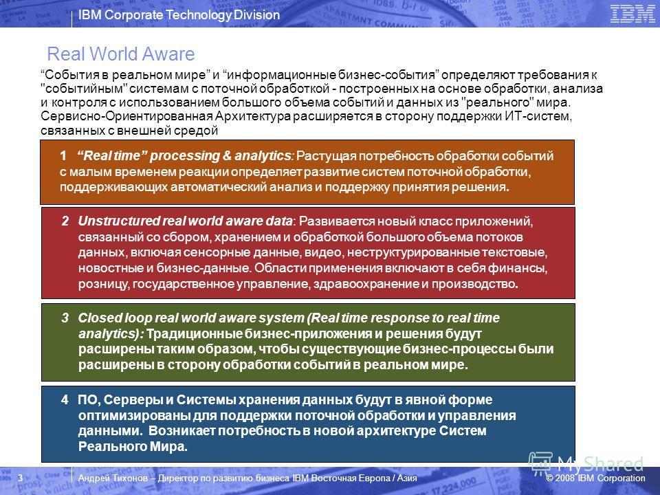 IBM Corporate Technology Division © 2008 IBM Corporation 3Андрей Тихонов – Директор по развитию бизнеса IBM Восточная Европа / Азия Real World Aware События в реальном мире и информационные бизнес-события определяют требования к