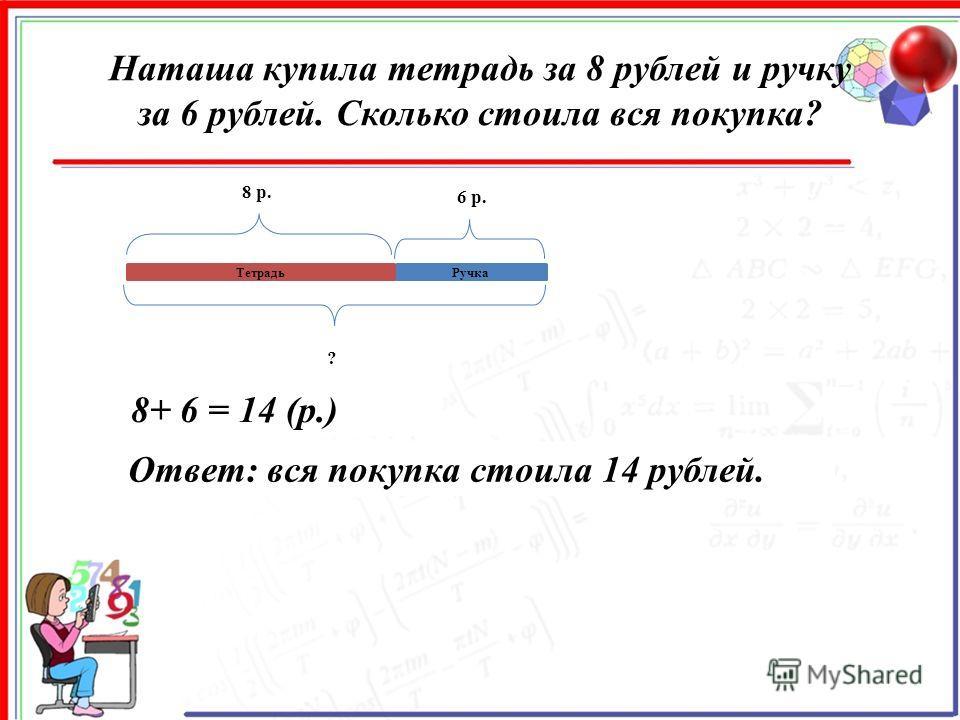 Наташа купила тетрадь за 8 рублей и ручку за 6 рублей. Сколько стоила вся покупка? Ручка 8 р. 6 р. ? 8+ 6 = 14 (р.) Ответ: вся покупка стоила 14 рублей. Тетрадь