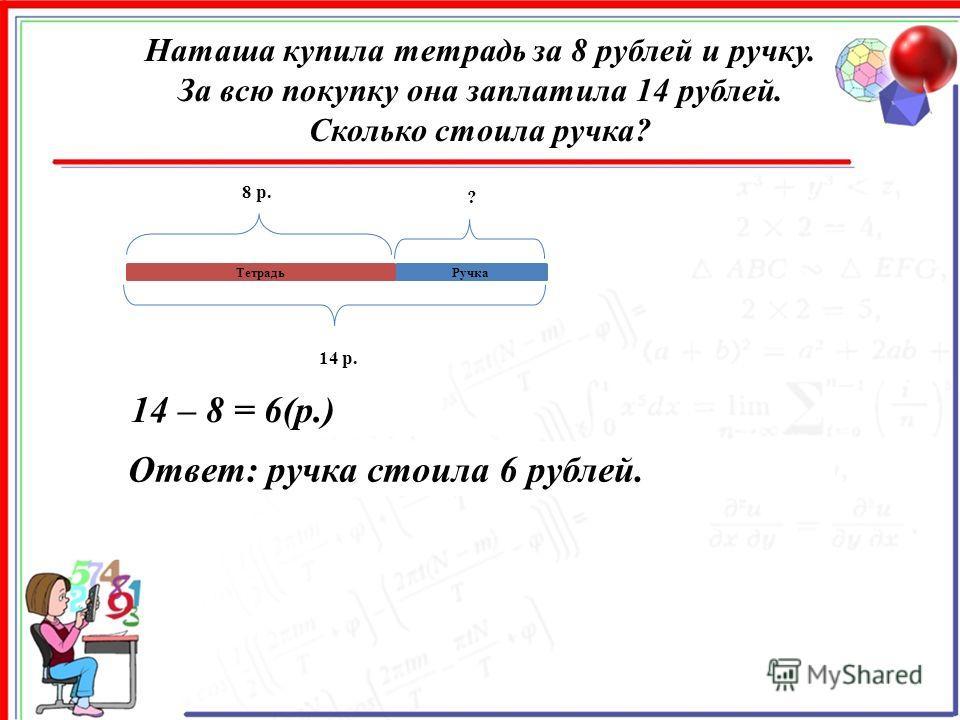 Наташа купила тетрадь за 8 рублей и ручку. За всю покупку она заплатила 14 рублей. Сколько стоила ручка? Ручка 8 р. ? 14 р. 14 – 8 = 6(р.) Ответ: ручка стоила 6 рублей. Тетрадь