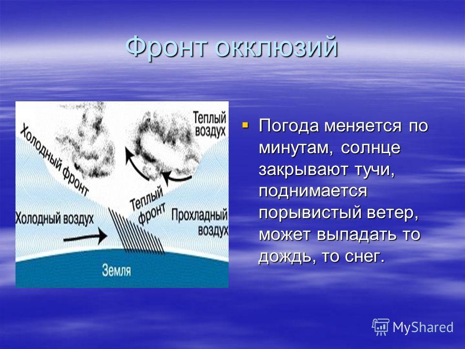 Фронт окклюзий Погода меняется по минутам, солнце закрывают тучи, поднимается порывистый ветер, может выпадать то дождь, то снег. Погода меняется по минутам, солнце закрывают тучи, поднимается порывистый ветер, может выпадать то дождь, то снег.