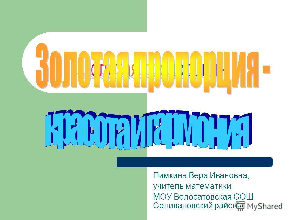 Пимкина Вера Ивановна, учитель математики МОУ Волосатовская СОШ Селивановский район