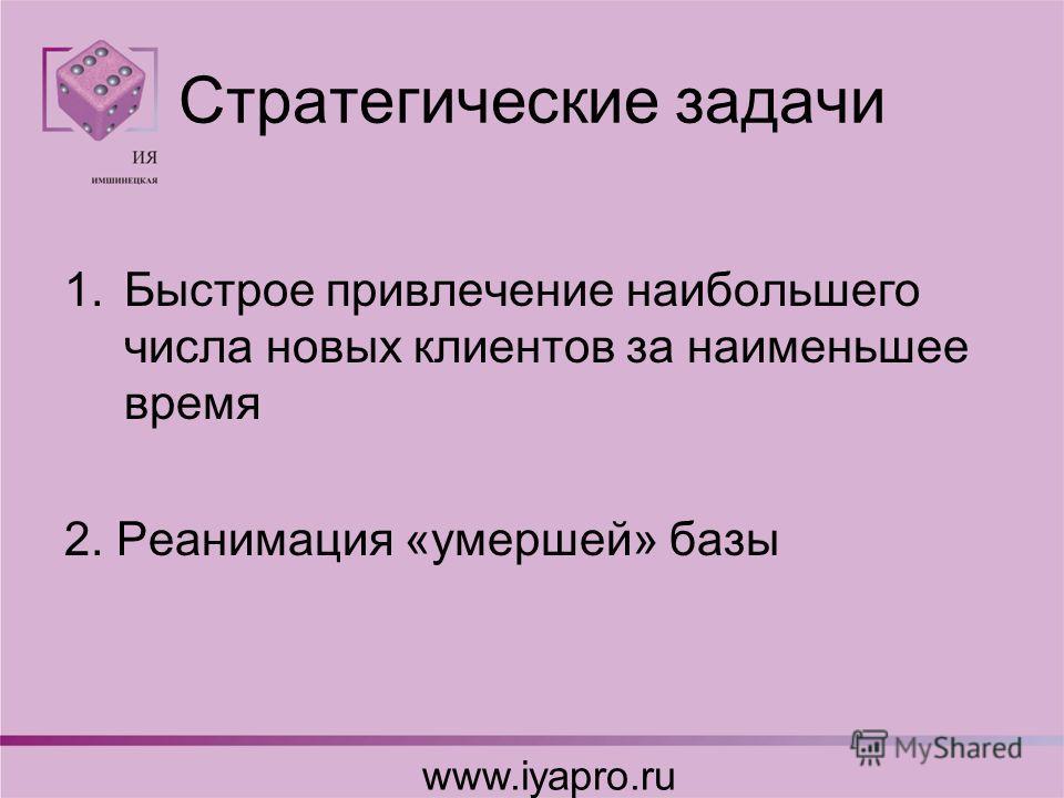Стратегические задачи 1.Быстрое привлечение наибольшего числа новых клиентов за наименьшее время 2. Реанимация «умершей» базы www.iyapro.ru