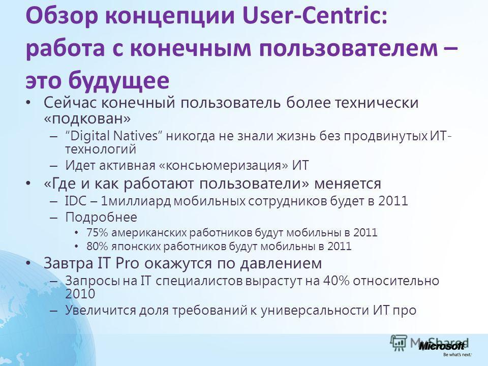Обзор концепции User-Centric: работа с конечным пользователем – это будущее Сейчас конечный пользователь более технически «подкован» – Digital Natives никогда не знали жизнь без продвинутых ИТ- технологий – Идет активная «консьюмеризация» ИТ «Где и к