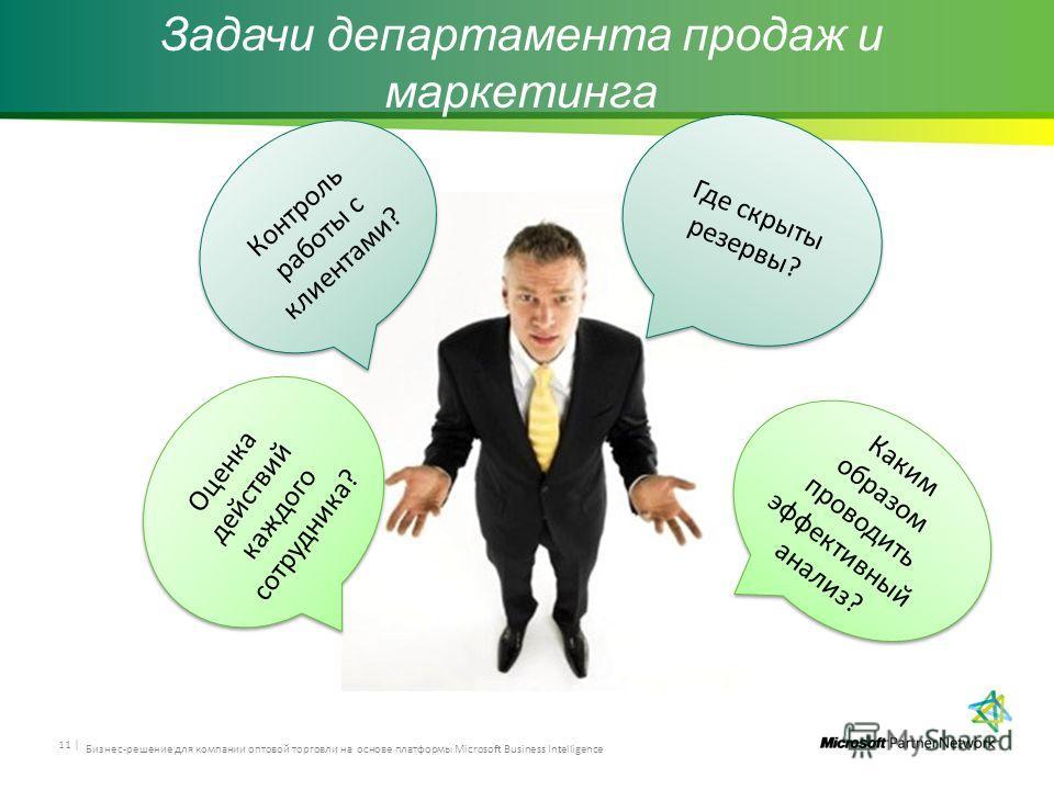 Задачи департамента продаж и маркетинга 11 | Где скрыты резервы? Каким образом проводить эффективный анализ? Контроль работы с клиентами? Оценка действий каждого сотрудника? Бизнес-решение для компании оптовой торговли на основе платформы Microsoft B